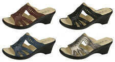 F3103- Ladies Synthetic Eaze Mule Sandals 4 Colours- Great Price