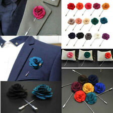 9 Colors Men's Lapel Pins Brooch For Wedding Suits Fabric Flower Brooches 1pcs