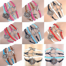 NEW Hot Infinity Love Anchor Leather Cute Charm Bracelet plated Silver DIY Hot