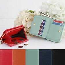 Small Leather Bifold Wallet Purse Zip Coin Pocket Credit Card Bill Holder Button