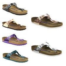 Birkenstock Gizeh Metallic Copper Green Violet Shoes Womens Sandals Leather SFB
