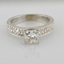 Diamond Engagement Ring GIA 2.15 Carat total Princess and Round Cut Prong set