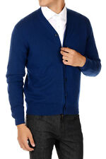 CRUCIANI New Men Blue Cashmere Buttons Cardigan Sweater Made in Italy