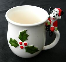 collectable Mickey Mouse 1930's Mug Cup Disney Christmas Raised Holly Relief