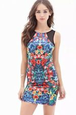 NWT New Forever 21 Tropical Print Bodycon Dress Black Multicolor S/M