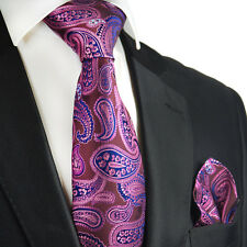 Purple Potion Paisley Silk Tie and Pocket Square by Paul Malone