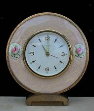 Pretty Vintage Dressing Table Clock by Estyma of Germany, Floral & Lace - 14 cm