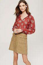 NWT ANN TAYLOR LOFT Faraway Exotic Floral Ruffle Tie Neck Blouse Size S