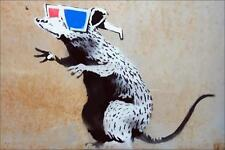 Stretched 3D Rat Canvas Print By Banksy Graffiti Street Art *Assorted*