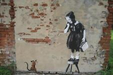 Stretched Rat Girl Canvas Print by Banksy Graffiti Urban Street Art *Assorted*