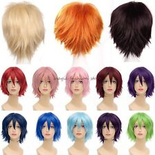 Short Full Head Wigs Curly Cosplay Costume Party Fancy Dress Anime Style Orange