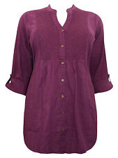NEW EVANS PURPLE PLUM OR BROWN COTTON EMBROIDERED BLOUSE TOP TUNIC SIZE 18 22 24