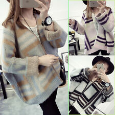 Womens Ladies Loose Strips Bat Wing Sleeve Knit Sweater Cardigans Coat Knitcoat