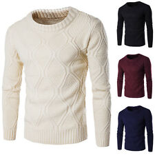 Mens Slim Fit Crew Neck Sweaters Thick Warm Coats Jacket Solid Color Knitted Top