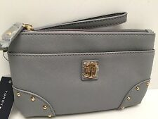 TOMMY HILFIGER Wristlet Clutch*Gray w/Gold Tone Stud*Cellphone Holder New