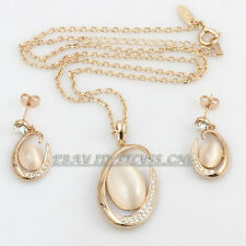 A1-S045 Fashion Simulated Opal Stud Earrings Necklace Jewelry Set 18KGP Crystal