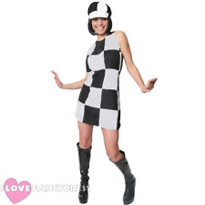 FAULTY OFF WHITE AND BLACK 60S 70S FANCY DRESS COSTUME LADIES SHIFT DRESS & HAT