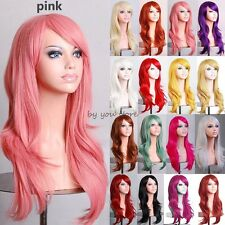 Women Long Curly Layer Full Head Wigs Cosplay Party Fancy Dress Lady Red Pink C3