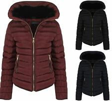 Womens Wine With Thick Coat Padded Jacket Warm Zip Quilted Black Winter UK 8-16