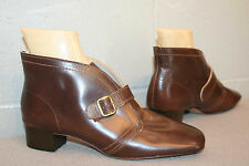7.5 BROWN LEATHER Vtg 60s NOS CHARM STEP MOD STACK HEEl ANKLE BUCKLE BOOT SHOE