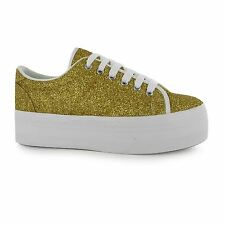 Jeffrey Campbell Play zOMG Glitter Platform Shoes Womens Gold Trainers Sneakers