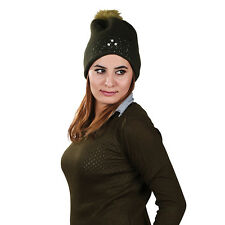Womens Knitted Soft Angora Beanie with Large Fake Fur Bobble Hat 7 Colours