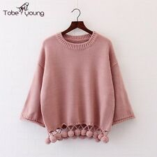 Casual Womens Pompom Pullover Sweater Long Sleeve Knit Tops Jumper Cardigan Coat