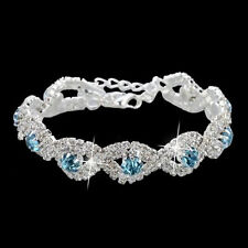 Women's Elegant Deluxe Crystal Bracelet Infinity Rhinestone Wedding Bangle 1pc