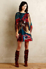NWT ANTHROPOLOGIE MOULINETTE SOEURS Lorikeet Silk Tunic Dress size 0 (Turquoise)