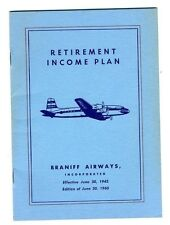 1943  Braniff Airways Incorporated Retirement Income Plan Booklet 1960 Edition