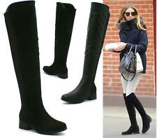 WOMENS BLACK LYCRA WIDE CALF STRETCH RIDING BOOTS KNEE HIGH LADIES SIZE UK 3 -8