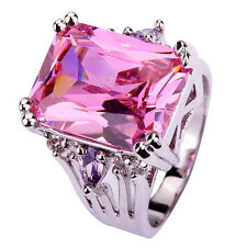 Fashion Ring Cocktail Cut Pink Topaz White Amethyst Silver Stone Trendy Wedding