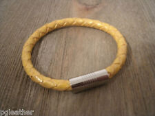 Leather Bracelet Stainless Steel Magnetic Clasp Gold Braided Leather Steel Clasp