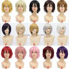 UK Short Hair Wig Curly Cosplay Costume Party Fancy Dress Anime Style Very Thick