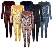 New Womens Jogger Loungewear 2 Piece Co-ordinate Crushed Velour Velvet Tracksuit