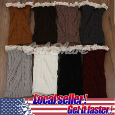 US SHIP Womens Crochet Knit Lace Trim Leg Warmers Cuffs Toppers Boot Socks