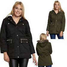 NEW WOMEN LADIES PLUS SIZE PARKA HOODED FAUX FUR WINTER MILITARY COAT JACKET