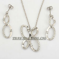 Fashion White Gold Plated Hoop Earrings Necklace Set 18KGP Rhinestone Crystal