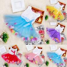 Baby Kids Girl Toddler Lace Princess Pageant Party Tutu Dress Bow Flower Dresses