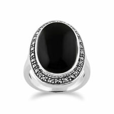 Onyx Sparkling Marcasite Ring in 925 Sterling Silver