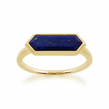 Gemondo 925 Gold Plated Sterling Silver 1.50ct Lapis Lazuli Hexagonal Prism Ring