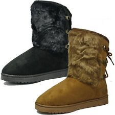 Fashion Womens Ladies Girls Ankle Flat Faux Fur Lined Snow Boots Warm Winter Sho