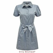 WOMENS LADIES VINTAGE DENIM COLLARED KNEE LENGTH SUMMER SHIRT BELTED TUNIC DRESS