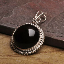 """NATURAL BLACK ONYX GEMSTONE 925 SILVER PLATED OVER SOLID COPPER PENDANT 1 3/4"""""""