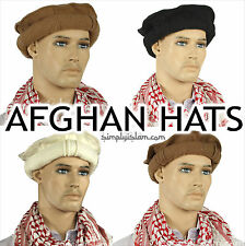Afghan Hat Ethnic Pakul Pakol 100% Wool Taliban Style Beret 6 Colours