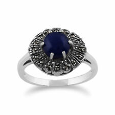 Gemondo 925 Sterling Silver 0.62ct Lapis Lazuli & Marcasite Art Deco Ring