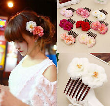 Girl Double Silk Rose Flower Hair Comb Hair Clip Wedding Bridal Beachy