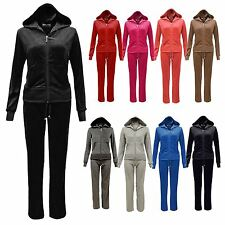 Ladies Velour Full Set Tracksuit Joggers Zip Hoodie Sports Gym Lounge Size 8-14