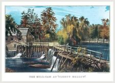 Currier And Ives Retro Mill Dam At Sleepy Hollow Poster Free Shipping