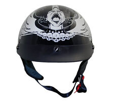 Outlaw X226 DOT Gloss Black Screamer Motorcycle Skull Cap Half Helmet w/ Visor